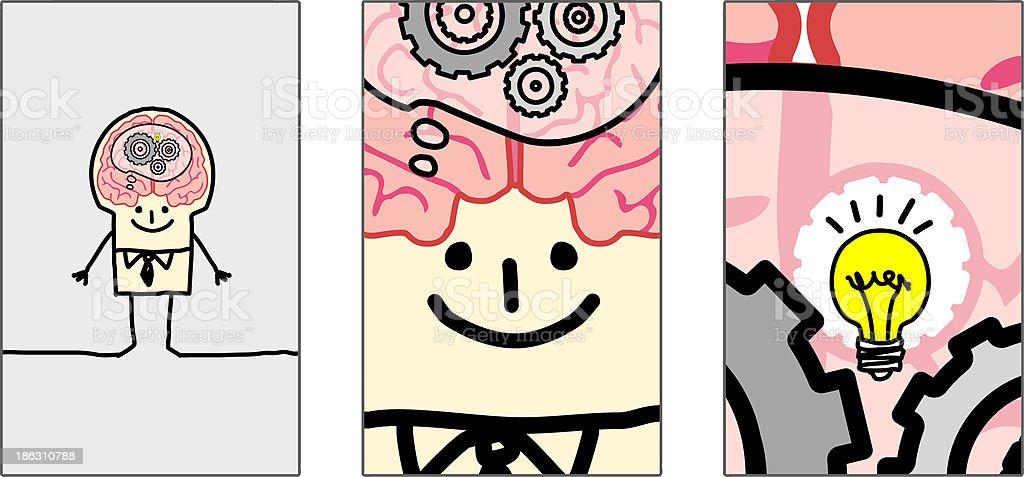 zoom inside man brain royalty-free stock vector art