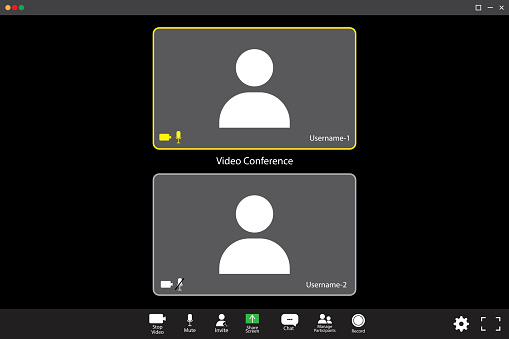 Zoom interface template. two participants. Online video. Mobile application design. Online business webinar chat. Stock image. EPS 10.