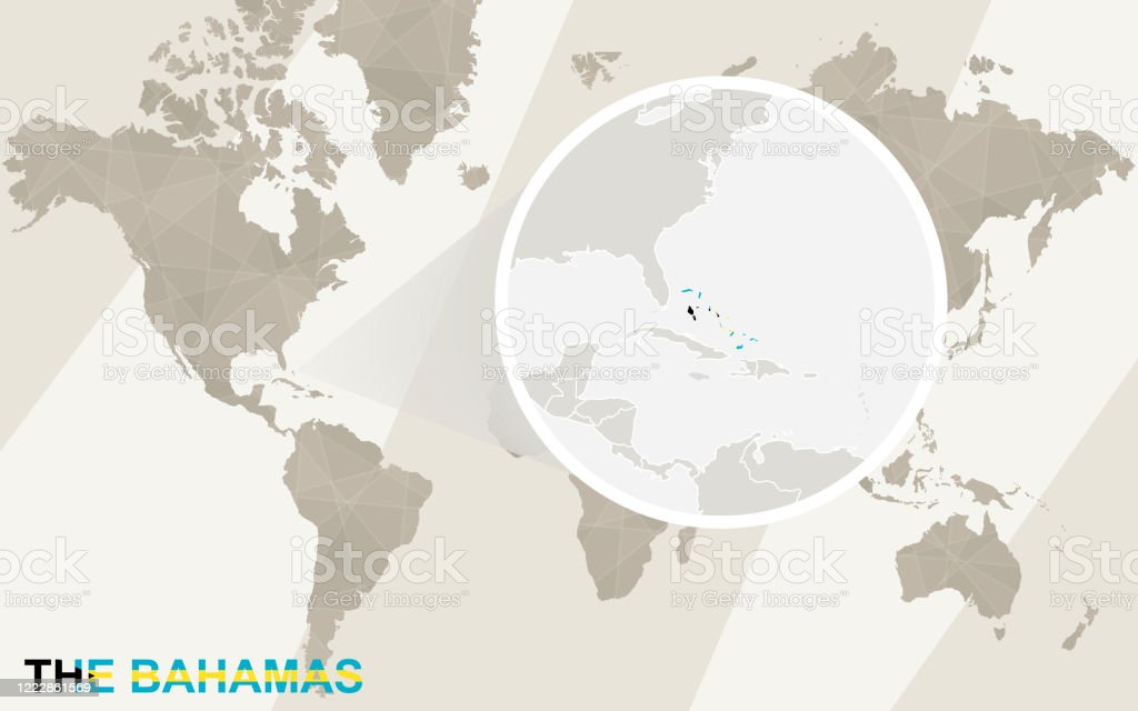 Picture of: Zoom On The Bahamas Map And Flag World Map Stock Illustration Download Image Now Istock