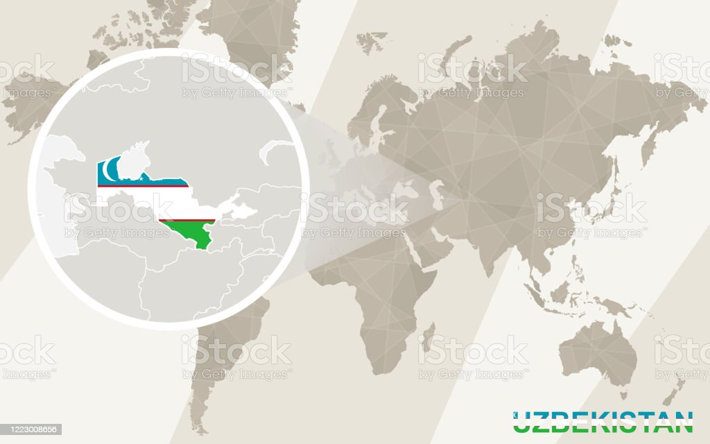 Image of: Zoom On Uzbekistan Map And Flag World Map Stock Illustration Download Image Now Istock