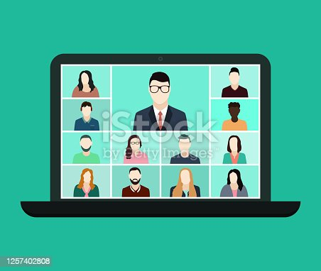 istock Zoom online conference in laptop. Remote education for class group. Virtual talk in team. Video call of seminar with teacher and students. Quarantine communication. vector 1257402808