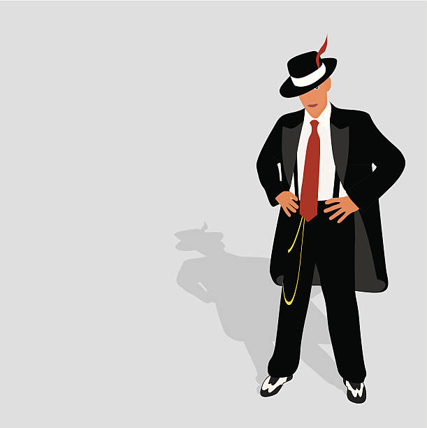 zoot suit 2 - gangster stock illustrations, clip art, cartoons, & icons