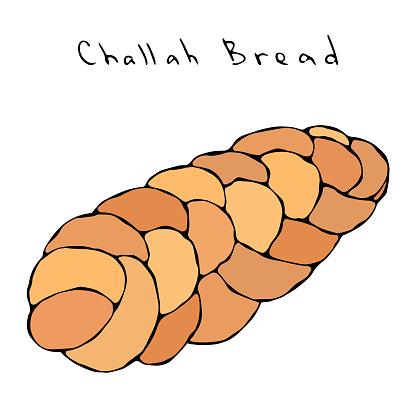 Zopf or Challah Bread. Jewish or Swiss, Austrian or Bavarian Bakery. Realistic Hand Drawn Illustration. Savoyar Doodle Style