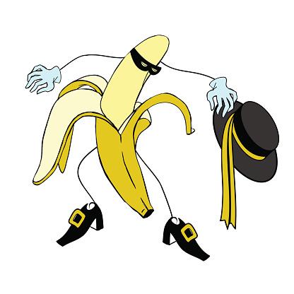 Zorro and Cartoon banana character vector
