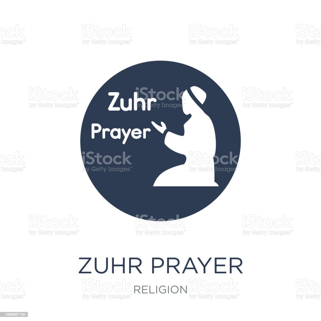 Zuhr Prayer icon. Trendy flat vector Zuhr Prayer icon on white background from Religion collection vector art illustration