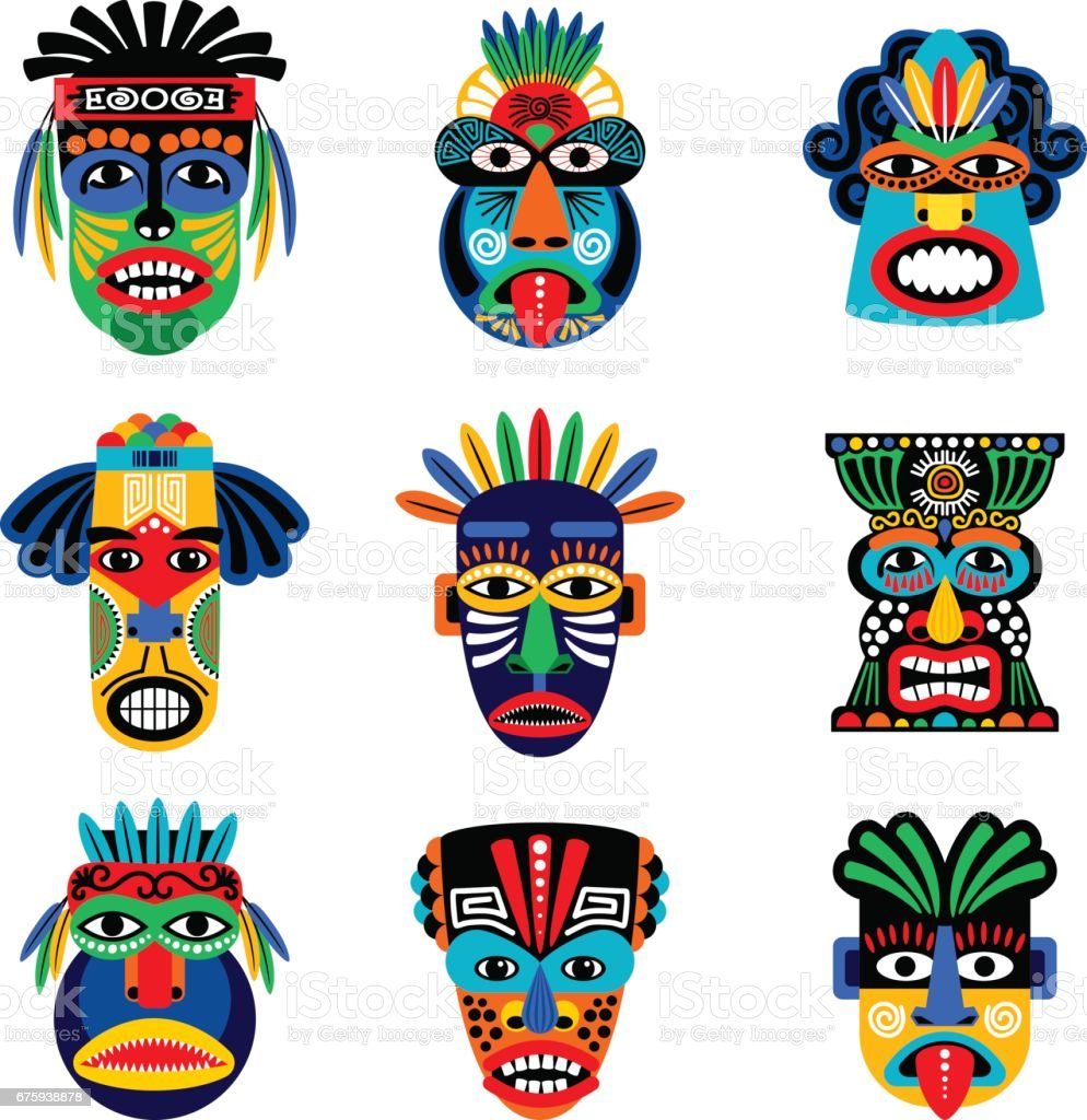 Zulu or aztec mask icons vector art illustration