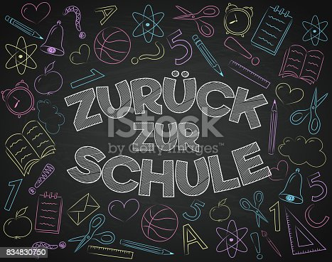 """istock """"Zurück zur Schule"""" - translated from German to English as """"Back to School"""". Vector. 834830750"""