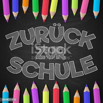 """istock """"Zurück zur Schule"""" - translated from German to English as """"Back to School"""". Vector. 834831470"""