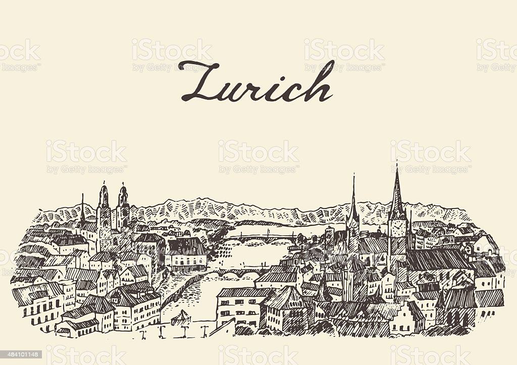 Skyline Von Zürich Vektorillustration Drawn Sketch Stock Vektor Art ...