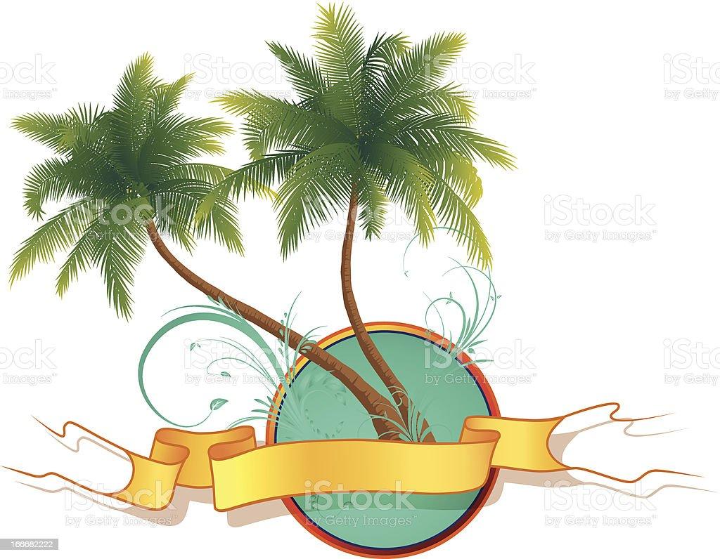 Zwei Palmen mit Banner royalty-free stock vector art