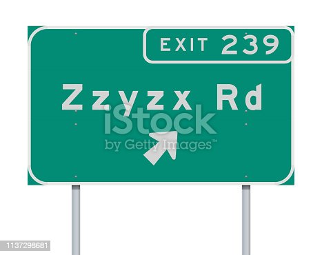 Vector illustration of the Zzyzx Route Exit direction green Road sign