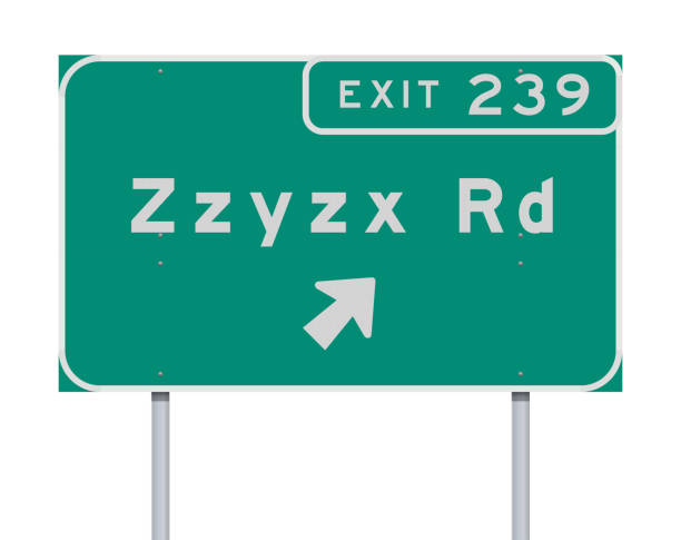 Zzyzx Route Exit direction Road sign Vector illustration of the Zzyzx Route Exit direction green Road sign highway stock illustrations