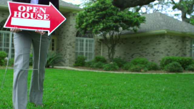 open house for sale-realty sign-1080hd - foreclosure stock videos & royalty-free footage
