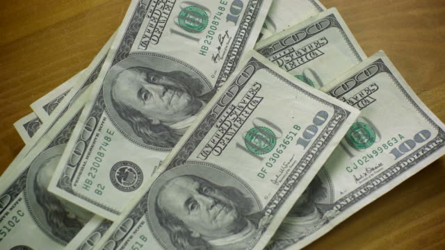 $100 BILL MONEY-4 SHOTS-1080HD  exchanging stock videos & royalty-free footage
