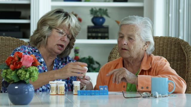 vídeos de stock, filmes e b-roll de mulher idosas com medicamentos - 1080hd - assistência à terceira idade