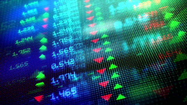 4K DIGITAL STOCK MARKET Generic stock market digital visualization wall street stock videos & royalty-free footage