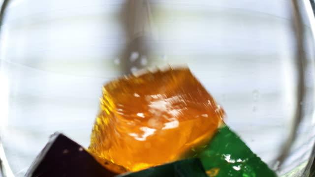 SLOW MOTION-JELLO CUBES- HD  jello stock videos & royalty-free footage