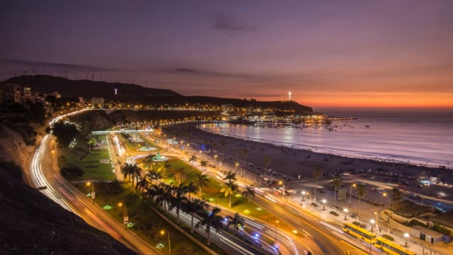 vídeos de stock e filmes b-roll de timelapse  of  sunset in lima - lima