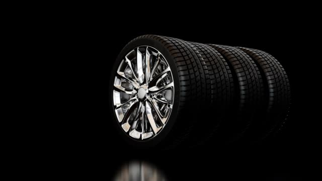 3D TIRES ON BLACK BACKGROUND video