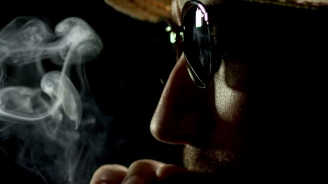 CIGAR SMOKER ON BLACK-SLOW MOTION-1080HD video