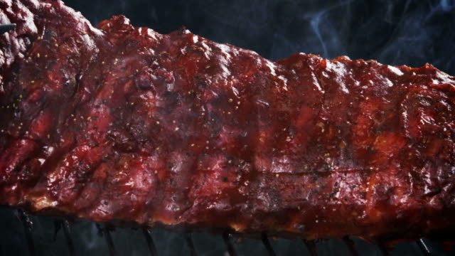 BBQ RIBS ON GRILL-SLOW MOTION