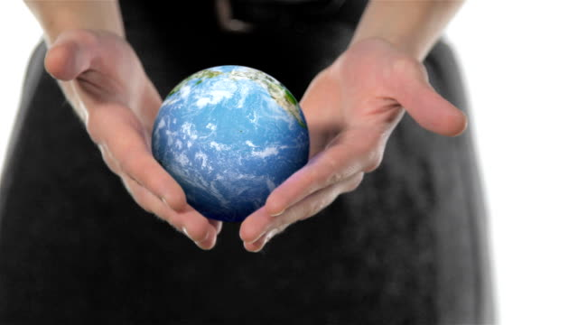 FEMALE WOMANS HANDS HOLDING GLOBE