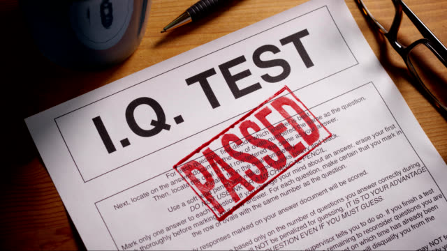 I.Q. TEST FORM STAMPED APPROVED AND FAILED