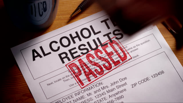 ALCOHOL TEST FORM STAMPED APPROVED AND FAILED