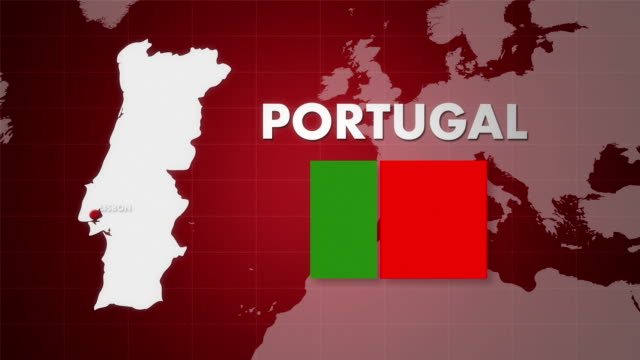 HD PORTUGAL MAP ANIMATION video