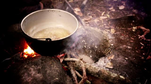 hd boiling water on campfire in the rainforest - şömine odunu stok videoları ve detay görüntü çekimi