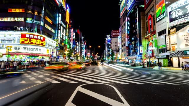 SHINJUKU CROSSING AT NIGHT, JAPAN TIMELAPSE video