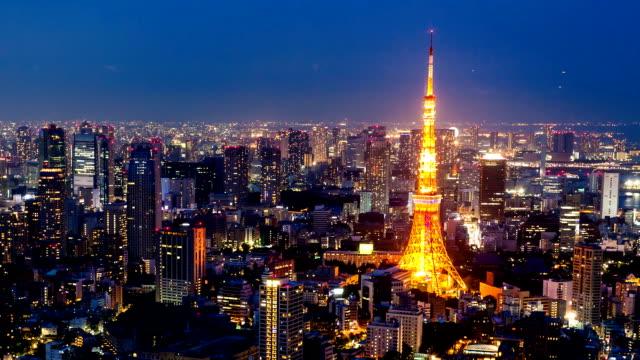 東京のスカイラインのタイムラプス - 東京タワー点の映像素材/bロール