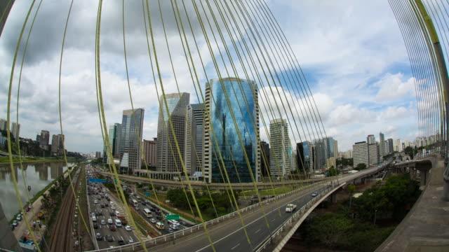 ESTAIADA BRIGDE -  SAO PAULO Cityscaspe with the Estaiada Bridge located in Marginal Pinheiros. wide angle stock videos & royalty-free footage