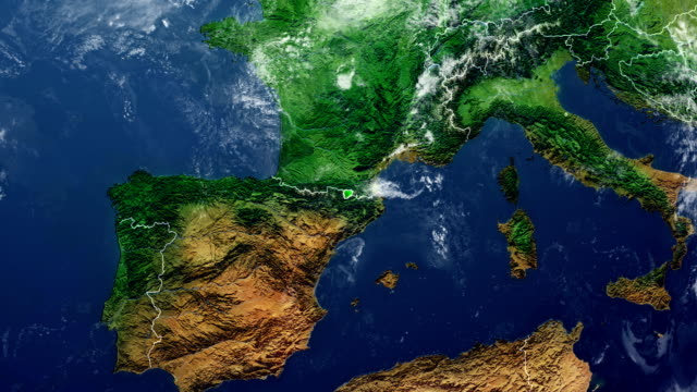 vídeos de stock, filmes e b-roll de mapa de andorra - país área geográfica