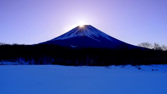 富士ケ嶺からの雪景色のダイヤモンド富士 2018/02/06 - 富士山点の映像素材/bロール