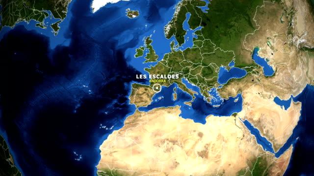 EARTH ZOOM IN MAP - ANDORRA, LES ESCALDES ANDORRA, LES ESCALDES ZOOM IN FROM SPACE. equator line stock videos & royalty-free footage