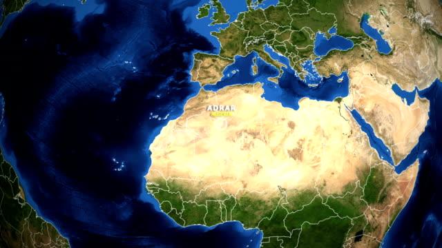 EARTH ZOOM IN MAP - ALGERIA, ADRAR ALGERIA, ADRAR ZOOM IN FROM SPACE. equator line stock videos & royalty-free footage