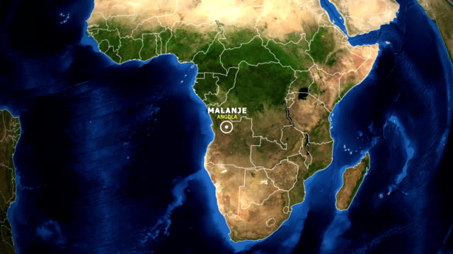 EARTH ZOOM IN MAP - ANGOLA, MALANJE ANGOLA, MALANJE ZOOM IN FROM SPACE. equator line stock videos & royalty-free footage