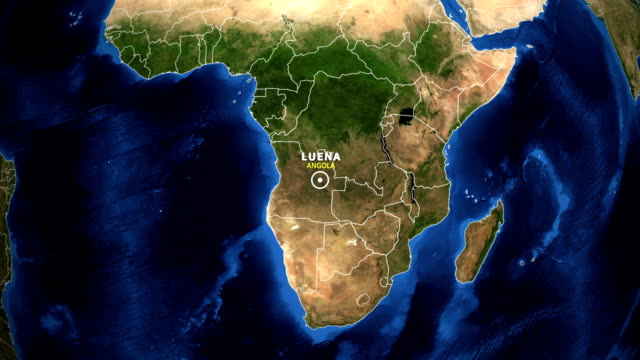 EARTH ZOOM IN MAP - ANGOLA, LUENA ANGOLA, LUENA ZOOM IN FROM SPACE. equator line stock videos & royalty-free footage