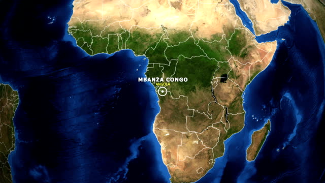 EARTH ZOOM IN MAP - ANGOLA, MBANZA CONGO ANGOLA, MBANZA CONGO ZOOM IN FROM SPACE. equator line stock videos & royalty-free footage