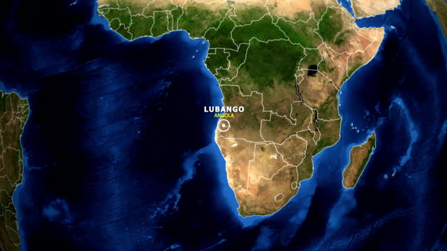 EARTH ZOOM IN MAP - ANGOLA, LUBANGO ANGOLA, LUBANGO ZOOM IN FROM SPACE. equator line stock videos & royalty-free footage