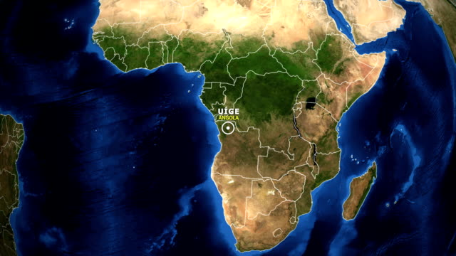 EARTH ZOOM IN MAP - ANGOLA, UIGE ANGOLA, UIGE ZOOM IN FROM SPACE. equator line stock videos & royalty-free footage