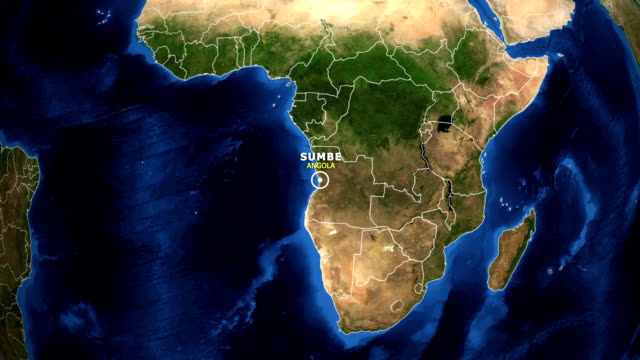 EARTH ZOOM IN MAP - ANGOLA, SUMBE ANGOLA, SUMBE ZOOM IN FROM SPACE. equator line stock videos & royalty-free footage