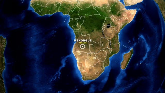 EARTH ZOOM IN MAP - ANGOLA, MENONGUE ANGOLA, MENONGUE ZOOM IN FROM SPACE. equator line stock videos & royalty-free footage