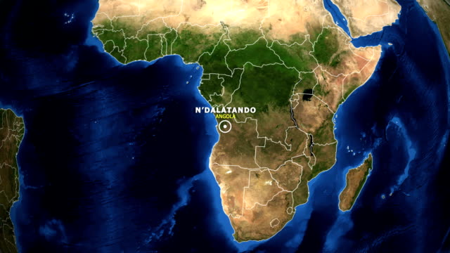 EARTH ZOOM IN MAP - ANGOLA, N'DALATANDO ANGOLA, N'DALATANDO ZOOM IN FROM SPACE. equator line stock videos & royalty-free footage