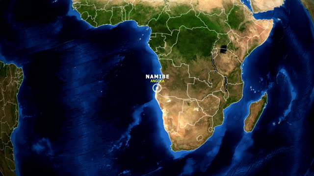 EARTH ZOOM IN MAP - ANGOLA, NAMIBE ANGOLA, NAMIBE ZOOM IN FROM SPACE. equator line stock videos & royalty-free footage