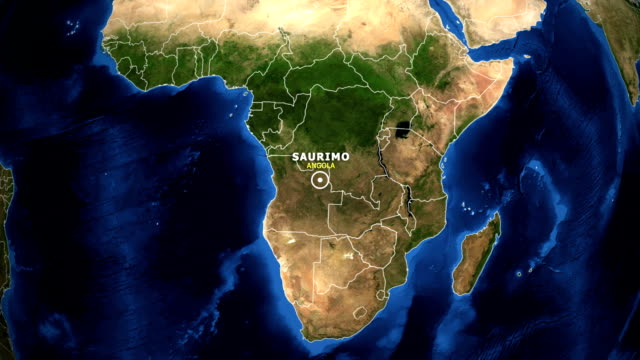 EARTH ZOOM IN MAP - ANGOLA, SAURIMO ANGOLA, SAURIMO ZOOM IN FROM SPACE. equator line stock videos & royalty-free footage