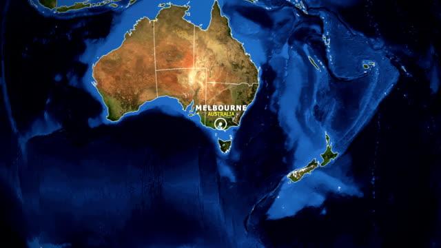 地球地図のズームイン オーストラリア メルボルン - オーストラリア メルボルン点の映像素材/bロール