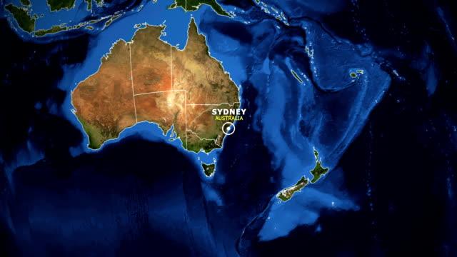 TERRA DE ZOOM NO MAPA - SYDNEY AUSTRÁLIA - vídeo
