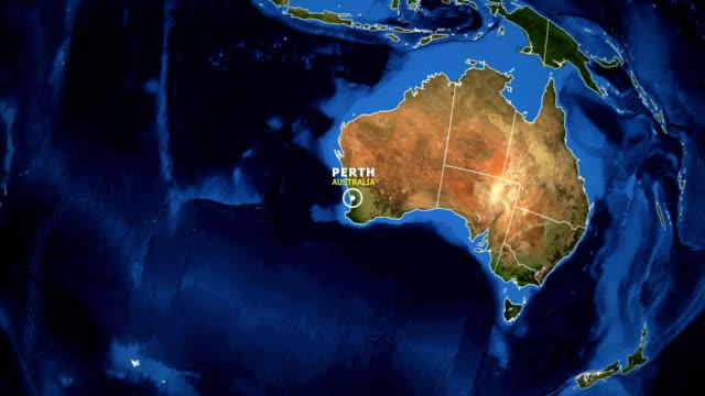 TERRA DE ZOOM NO MAPA - PERTH AUSTRÁLIA - vídeo